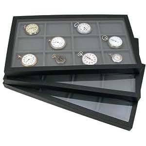 Amazon.com: 6 Jewelry Box Displays Trays Cases Gray