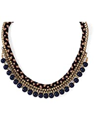 Voylla Attractive Gold-Tone Necklace Adorned With Blue Beads