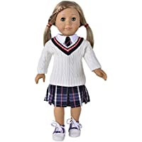 """Ebuddy Handmade School Style Sweater Skirt T-shirt Suit Doll Clothes Fits 18"""" Girl Doll"""