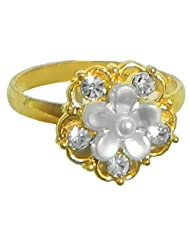 White Stone Studded Adjustable Ring - Stone And Metal - B00K4FWB6W