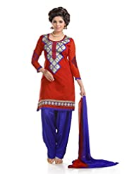 Ethnic For You Red & Blue Chanderi Cotton Embroidery Work Dress Material-ETH5203