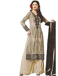 Namrah Collection Women's Georgette Straight Salwar Suit (2601, Grey)