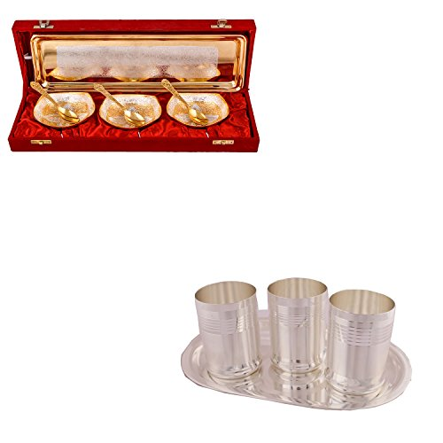 Silver & Gold Plated 3 Heavy Square Bowl With Spoon And Tray And Silver Plated 3 Premium Glass Set With Oval Tray