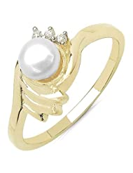 0.70CTW Genuine Pearl & White Cubic Zircon .925 Sterling Silver Gold Plating Ring