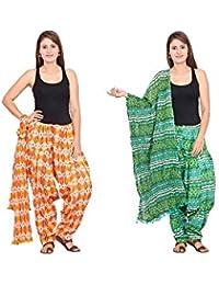 Rama Set Of 2 Printed Orange & Green Colour Cotton Full Patiala With Dupatta Set