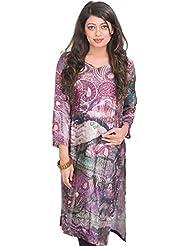 Exotic India Amaranth-Purple Kurti With Digital-Printed Paisleys - Purple