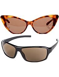 New Stylish UV Protected Combo Pack Of Sunglasses For Women / Girl ( BrownCateye-BrownWrap ) ( CM-SUN-041 )