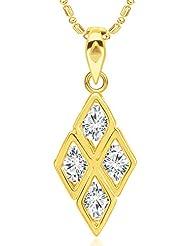 VShine With Swarovski Zirconia Diamond Shape Gold Pendant For Girls & Women