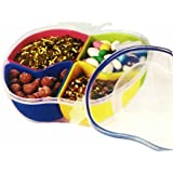 Creative Multipurpose Decorative Apple Shaped Clear Transparent Lock And Fit Snacks And Dryfruits Serving Tray...