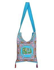 Rajrang Indain Designs Elephant Printed Cotton Embroidered Work Turquoise Sling Bag