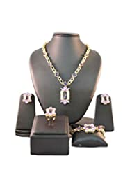 Light Purple Crystals Traditional Golden Jewellery Set With Ring