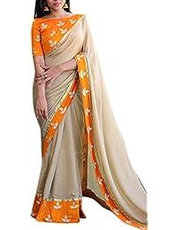 RV Creation Women's New Arrivals Orange & Beige Color Saree With Designer Blouse Piece