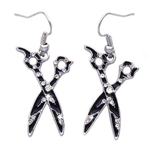 Zebra Design Scissors Dangle Hook Earrings (Dangle)