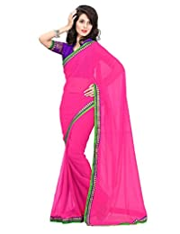 IndiWeaves Women Embroidered Chiffon Pink Saree