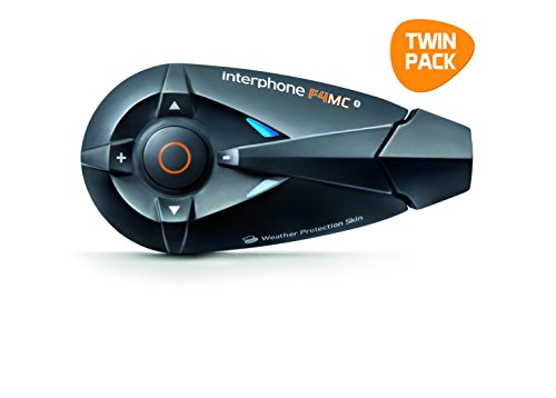 Interphone F4MC Twin-Pack - Kit manos libres para moto (conexión Bluetooth 3.0,...