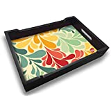 Nutcase Designer Wooden Serving Trays For Kitchen Serving/Dining (13x9) Inch - Retro Flowers
