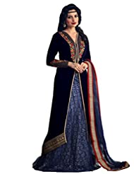 Shonaya Blue Colour Embroidery Resham & Zari Work Velvet Semi Stitch Salwar Suit
