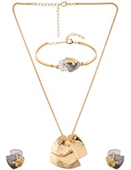 Truly Ringly Gold And Grey Metal Chain Jewellery Set For Womens & Girls