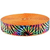 Country Brook Design 3/4 Inch Tie Dye Stripes Ribbon On Orange Nylon Webbing,...