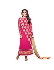 Dark Pink Chanderi Cotton Designer Party Wear Salwar Suit
