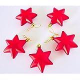 Christmas Tree Decoration Stars - 7cm Vibrant Colors MATT Finish - Set Of 5 Pieces - Red