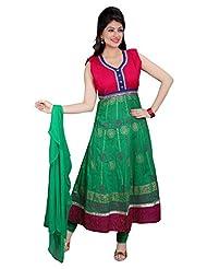Divinee Green Cotton Readymade Anarkali Suit - B0136DBUNI