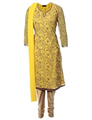 Azra Jamil Indian Georgette Yellow Self Embroidered And Sequined Hand Work Traditional Churidar Suit For Women
