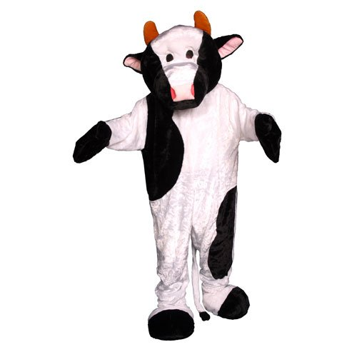Dress Up America Cow Mascot, White/Black