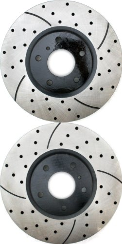 Prime Choice Auto Parts PR41377LR Drilled and Slotted Performance Rotor Pair for Front