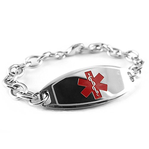 MyIDDr Custom Engraved Womens Medical Alert Bracelet, Steel O-Link Chain, Medium - Red