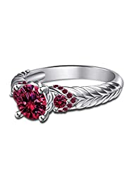 14K White Gold Over 925 Silver Disney Aurora Princess Engagement Ring Free Sizing For Women's