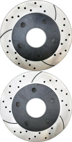 Prime Choice Auto Parts PR6367LR Performance Drilled and Slotted Brake Rotor Pair for Front