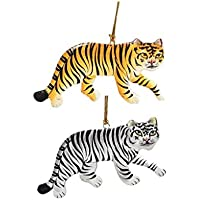 Mehra Bros Paper Machie Tiger Christmas Ornament Hanging (set Of 2) Yellow & White