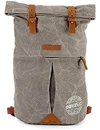 The House Of Tara Distress Finish Canvas Backpack (Stone Grey)