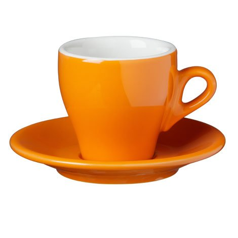 Nuova Point Cappuccino Cups, Set of 6 Cops and Saucers, Orange