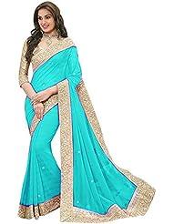 Sonani Fashion Designer Sky Blue Plain Georgette Party Wear Saree With Blouse Piece