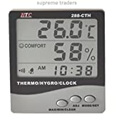 NEW HTC 288-CTH DIGITAL HYGRO - THERMOMETER WITH CLOCK BIG 3 LINE DISPLAY METER By Supreme Traders Supertronics1989