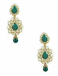 The Art Jewellery Brass Dangle & Drop Earrings For Women (Green)