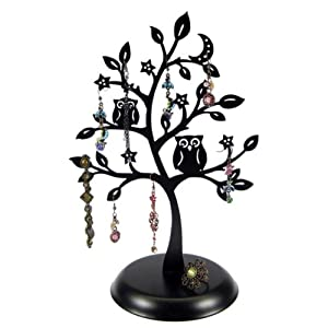 Amazon.com - Cut Out Metal Owl Tree Jewelry Stand Earrings