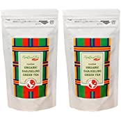 Organic Darjeeling Green Tea 50gm Each(Pack Of 2) - Healthy & Delicious (Makes 20-25 Cups), Exotic Long Leaf Green...