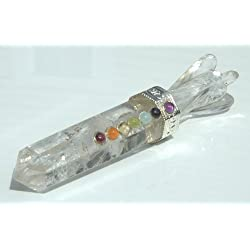 7 Chakra Crystal 8 Sided Quartz Angel Healing Aura Wand and Chakra Grounding Bracelet Set- Each One Is Hand Crafted!