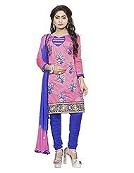 Divya Emporio Unstitched Cotton Silk Salwar Suit Dupatta(DE-010_Pink)