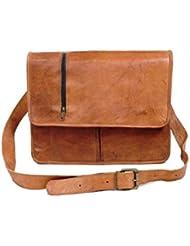 Pranjals House Genuine Browm Leather Messenger Bag For Boys/Girls