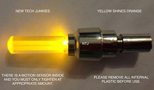NTJ (4 Pack) LED Motion Activated Bike Bicycle Wheel Valve Stem Cap Tire Light (Orange)