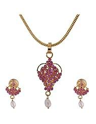 Ratnabhushan Jewels Gold Plated CZ Pendant Earring Set For Women - B00OIPX8G6