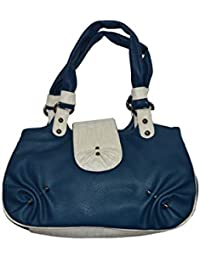 Knott Fahionable Blue And White Hand Bag For Women