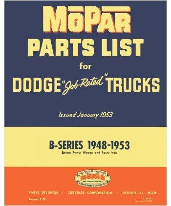 1948 1950 1951 1952 1953 Dodge Truck Part Numbers Book List Interchange Factory