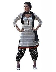 Ekvi Women's Cotton Straight Salwar Kameez (White )