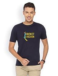 Campus Sutra Blue Round Neck Tshirt Cricket My Religion