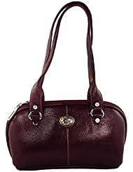 KARP Women's Vintage Casual Stylish Wine Red PU Leather Multi Compartment Large Capacity Shoulder Handbag (HandBag...